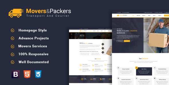Movers Packers - Logistics Transportation HTML Template - Business Corporate