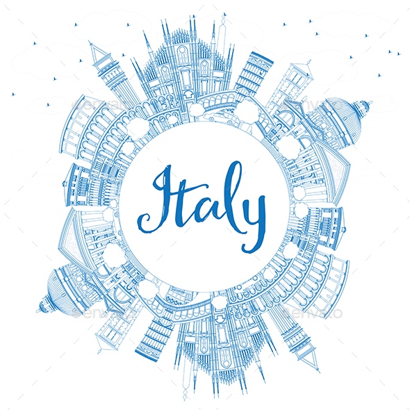 Outline Italy Skyline with Blue Landmarks and Copy Space - Buildings Objects