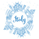 Outline Italy Skyline with Blue Landmarks and Copy Space