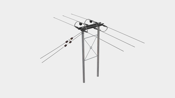 Wooden Telegraph Pole Farmers Field - 3DOcean Item for Sale