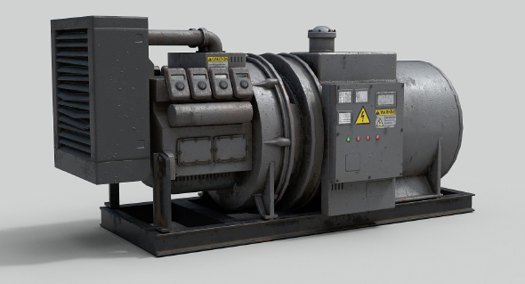Low Poly Industrial Generator - 3DOcean Item for Sale