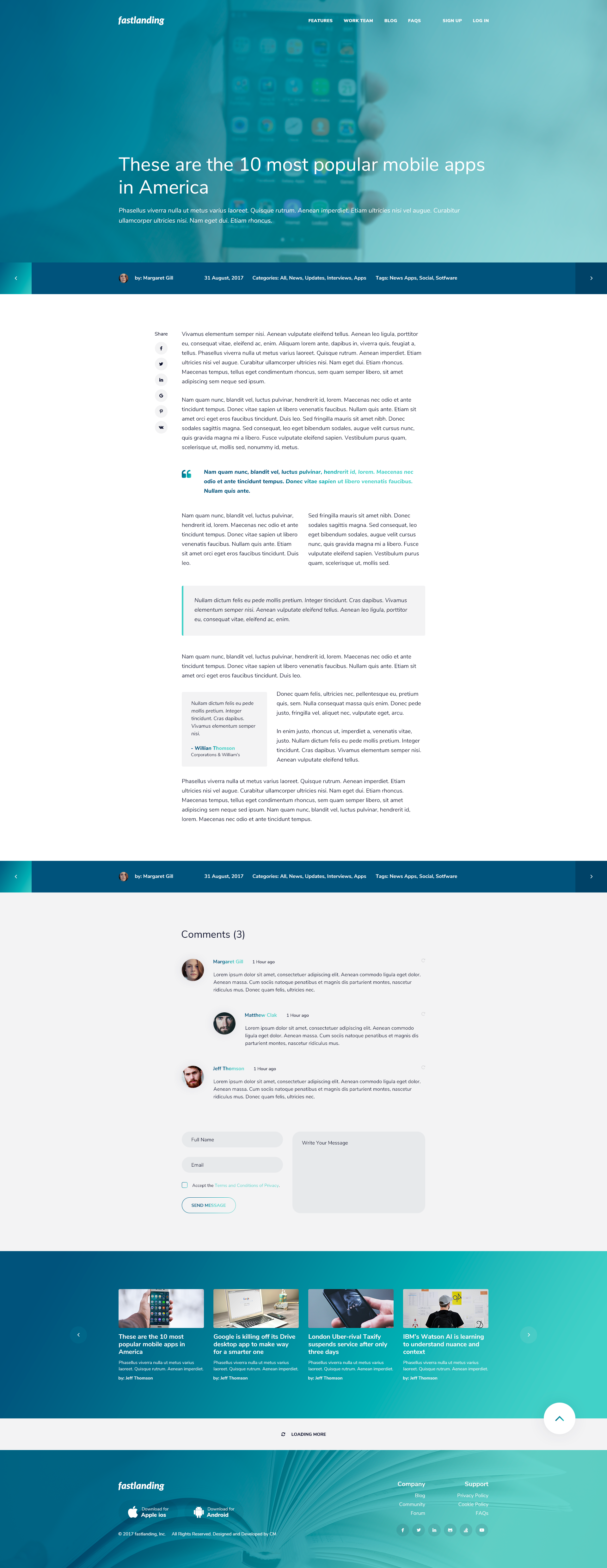 Fastlanding Creative Landing Page PSD Template By CreativeMoments - Privacy page template