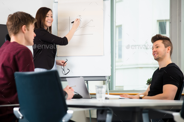 Businesswoman Giving Presentation While Looking At Colleagues Di - Stock Photo - Images