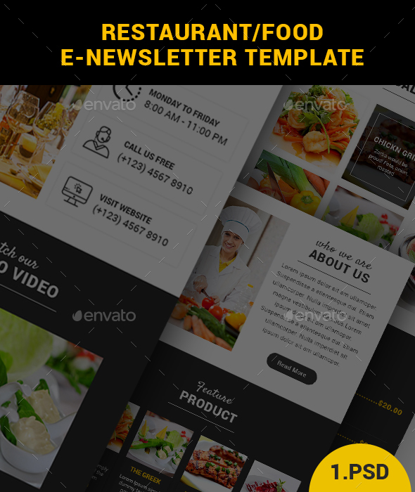 GraphicRiver Restaurant Food E-Newsletter Template 20741660