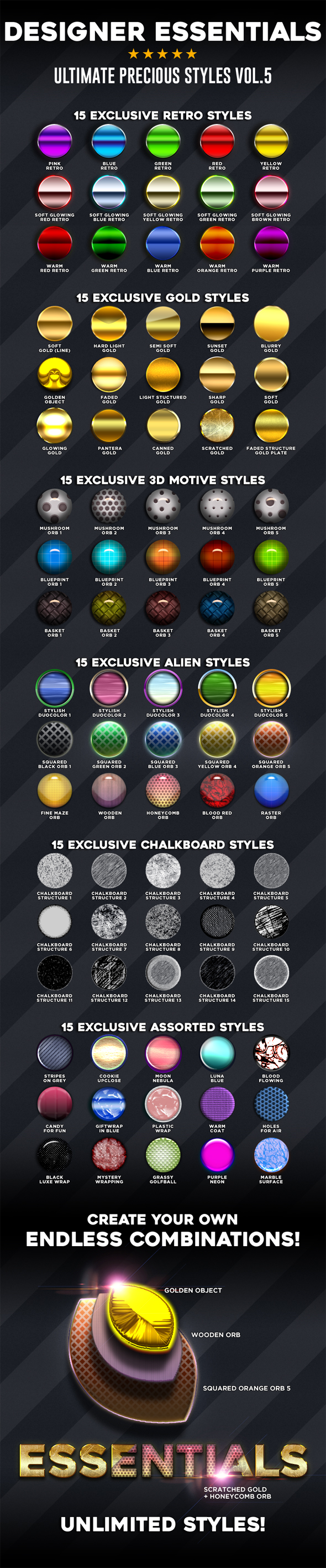 Designer Essentials Ultimate Precious Styles Vol.5 - Styles Photoshop