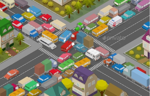 GraphicRiver Traffic Jam Isometric Cars and Houses 20759145
