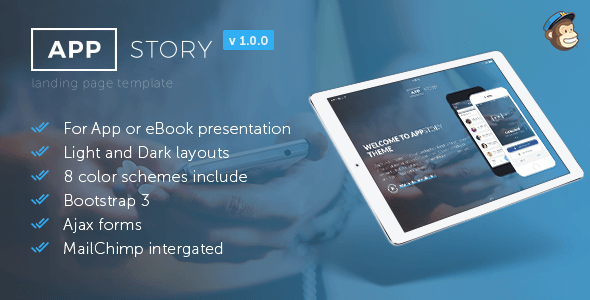 appstory - mobile app & e-book landing page (landing pages) AppStory – Mobile App & e-Book Landing Page (Landing Pages) appstory preview 1