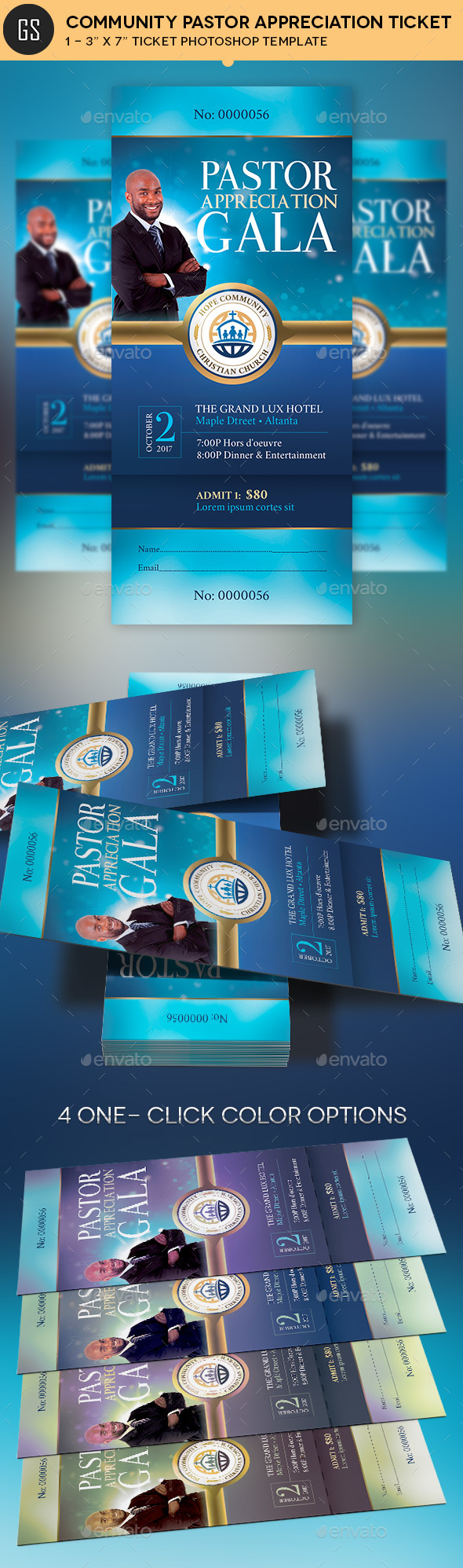 Community Pastor Appreciation Gala Ticket Template - Miscellaneous Print Templates
