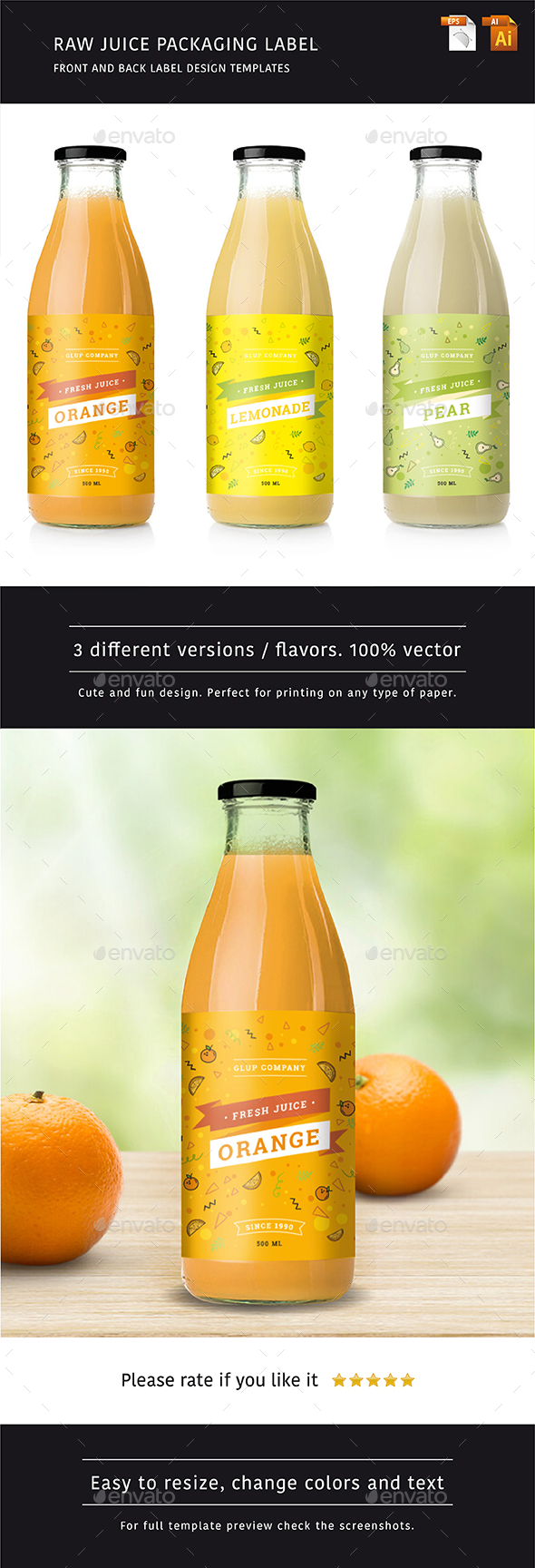 Raw Juice Label - 3 Flavors - Packaging Print Templates