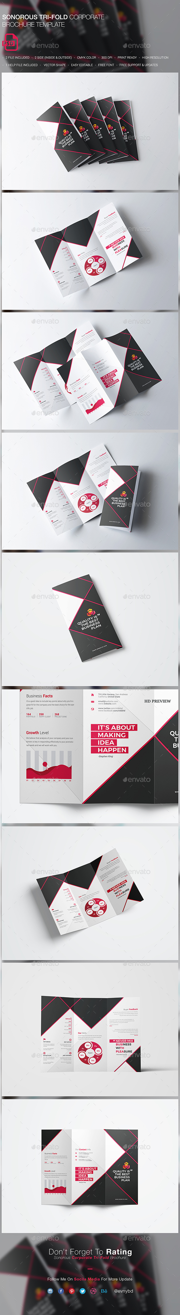 Sonorous Corporate Tri-fold Brochure - Brochures Print Templates