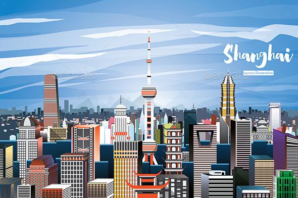 GraphicRiver Shanghai China City Skyline 20759986