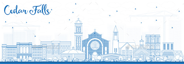 Outline Cedar Falls Iowa Skyline with Blue Buildings - Buildings Objects
