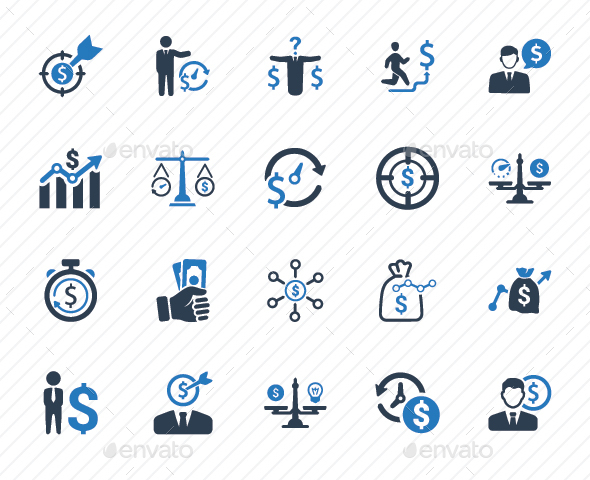 GraphicRiver Budget Plan Icons Blue Version 20760197