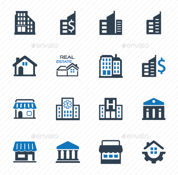 Building and Construction Icons - Blue Version - Business Icons