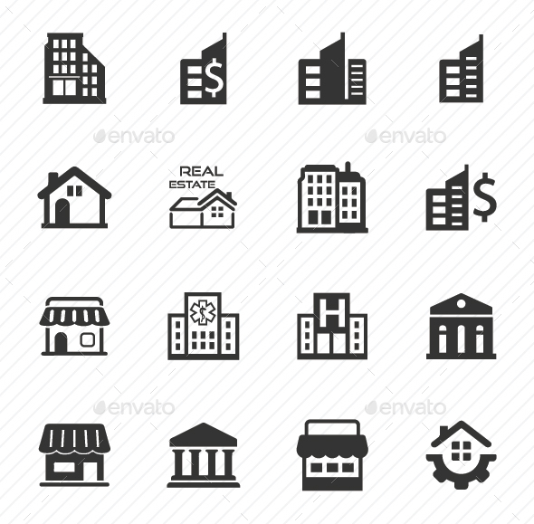 Building and Construction Icons - Gray Version - Business Icons