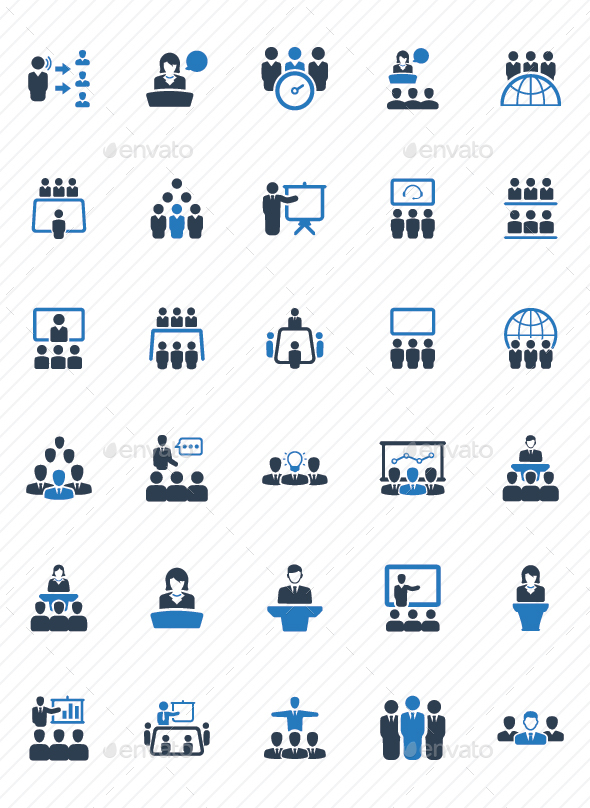 GraphicRiver Business Conference Icons Blue Version 20760236