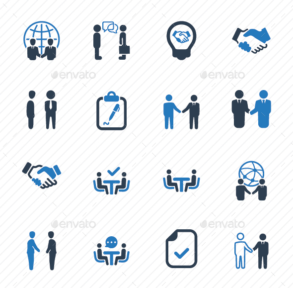 Business Deal Icons - Blue Version - Business Icons