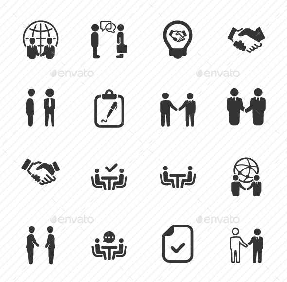 Business Deal Icons - Gray Version - Business Icons