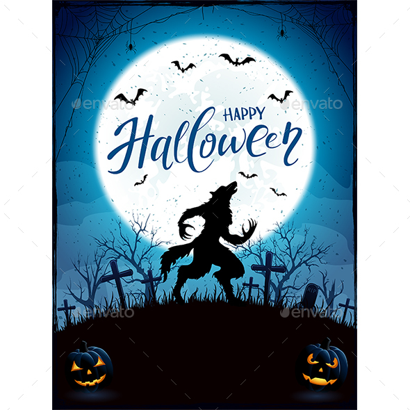 Happy Halloween with Werewolf and Moon on Blue Background - Halloween Seasons/Holidays
