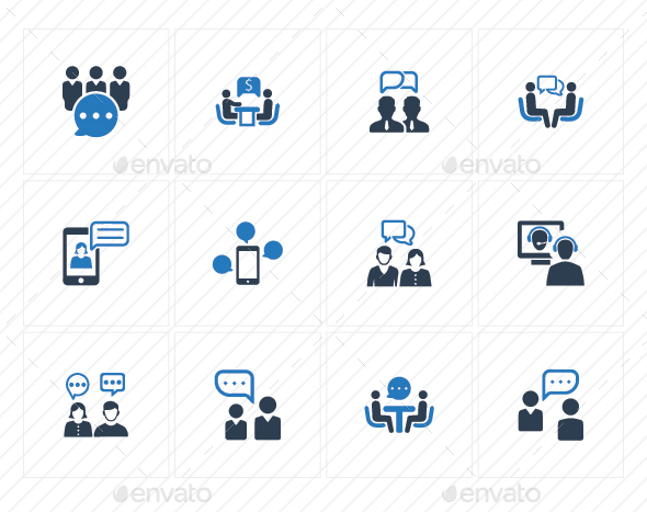 GraphicRiver Discussion Icons Blue Version 20760265