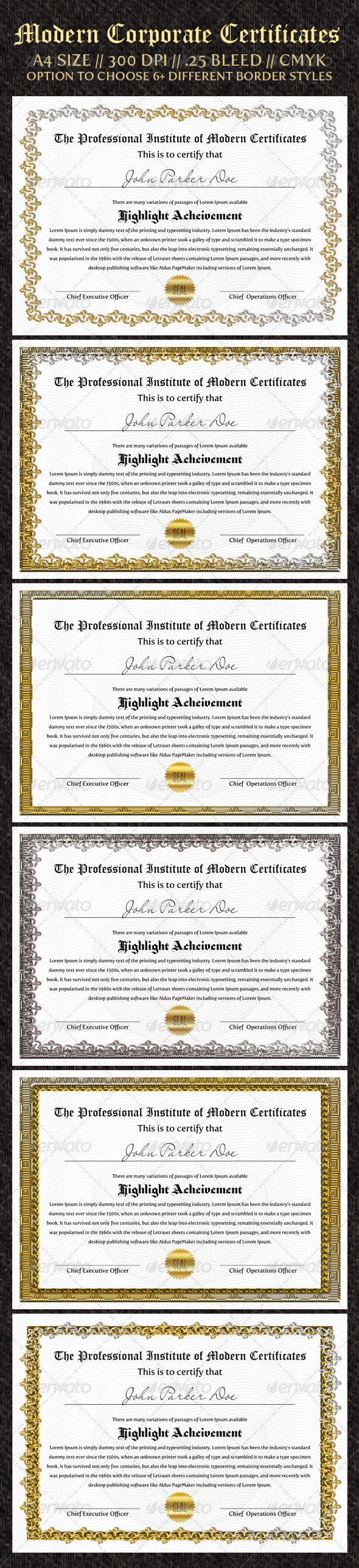 Corporate Certificates - Certificates Stationery