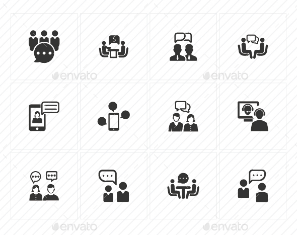 GraphicRiver Discussion Icons Gray Version 20760279