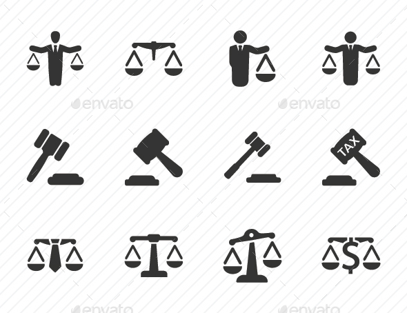 Business Law Icons - Gray Version - Business Icons