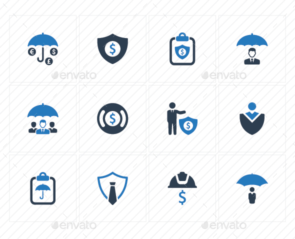 GraphicRiver Business Security Icons Blue Version 20760332