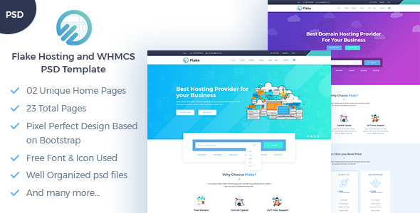 ThemeForest Flake Hosting and WHMCS Technology PSD Template 20760380