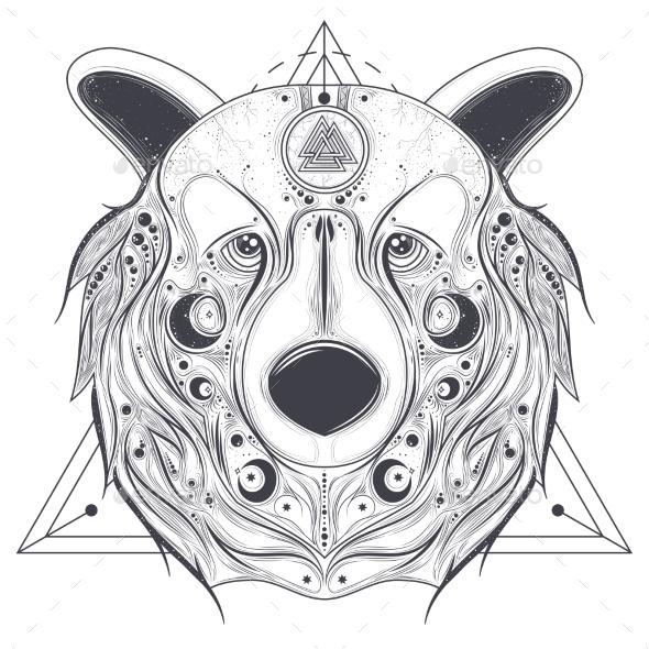 Bear Ornamental Head with Valknut Line Art Vector - Miscellaneous Vectors