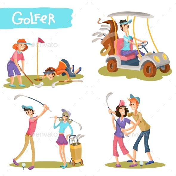Golfers Cartoon Characters Vector Set - Sports/Activity Conceptual