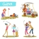 Golfers Cartoon Characters Vector Set