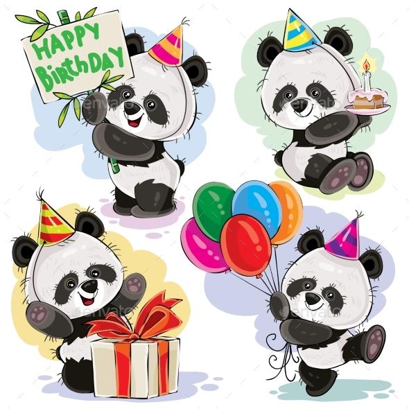 Panda Bear Baby Celebrates Birthday Cartoon Vector - Animals Characters