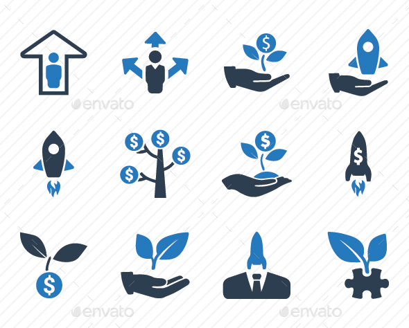 Business Startup Icons - Blue Version - Business Icons