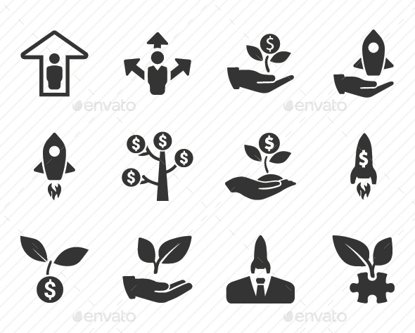 Business Startup Icons - Gray Version - Business Icons