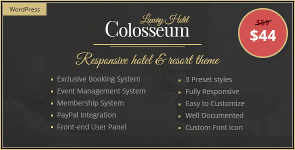 Colosseum Hotel - Premium Hotel & Resort WordPress Theme - Travel Retail