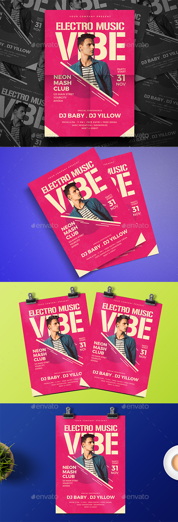 Electro Party Music Flyer - Events Flyers