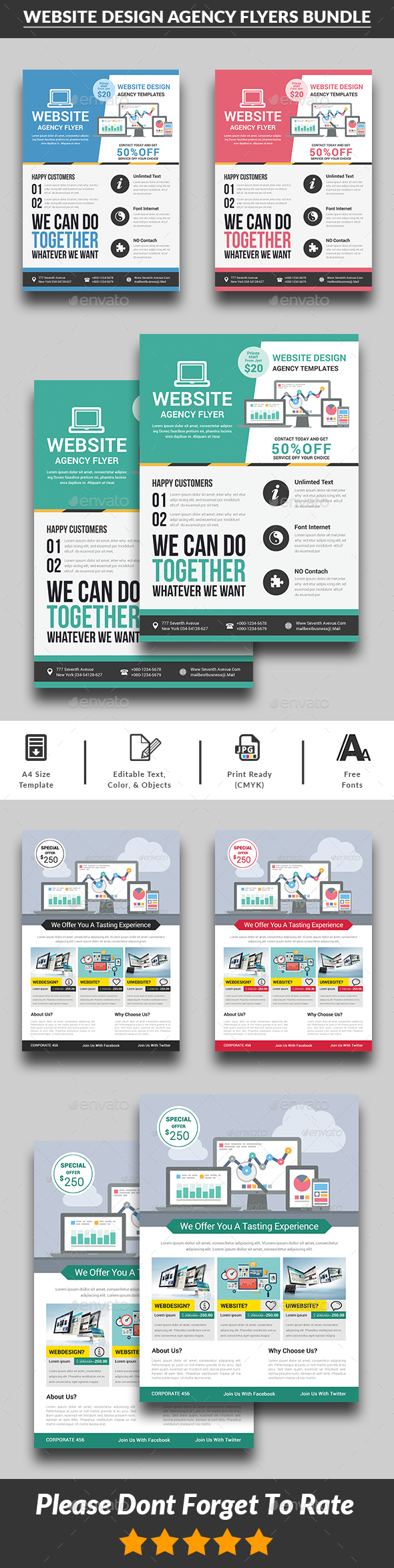 GraphicRiver Website Design Agency Flyers Bundle 20760656