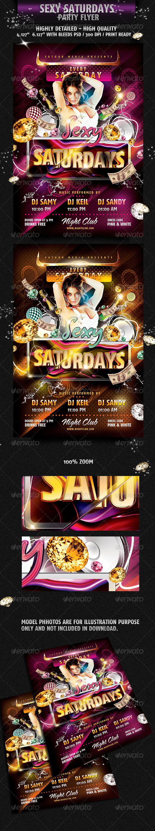Sexy Saturday Dance Party Flyer  - Flyers Print Templates