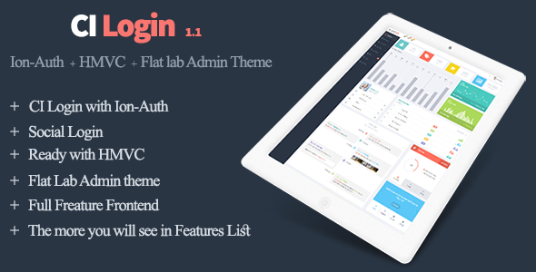CodeCanyon Codeigniter User Management System Ion-Auth HMVC and Flat Lab Admin Theme 20760800