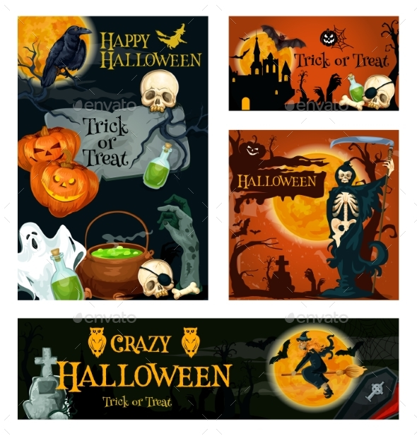 GraphicRiver Halloween Holiday Trick or Treat Night Banner 20760820