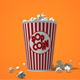 Popcorn Falling Into a Classic Striped Bucket - VideoHive Item for Sale