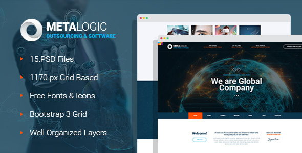 MetaLogic - IT Outsourcing & Software Development Company PSD Template