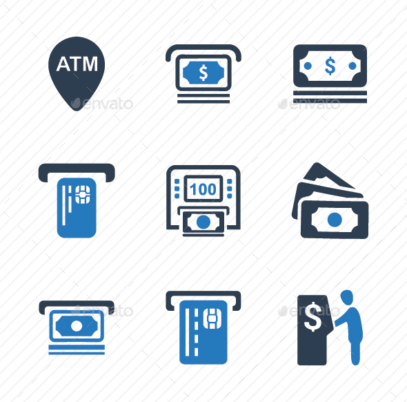 Cash Out Icons - Blue Version - Business Icons