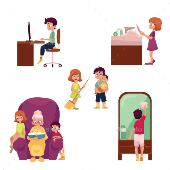 Children Home Activities Doing Chores - People Characters