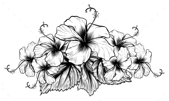 GraphicRiver Hibiscus Flowers Vintage Style Woodcut Engraved 20761551