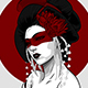 Raster Portrait of Geisha in Vector Style - GraphicRiver Item for Sale