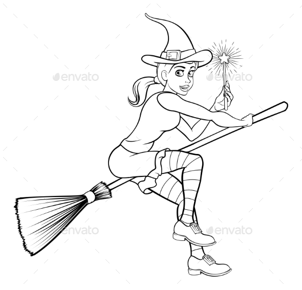 Cartoon Halloween Witch and Magic Wand - Halloween Seasons/Holidays