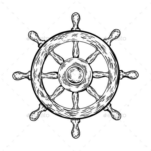 GraphicRiver Ship Steering Wheel Engraving Vector Illustration 20761697