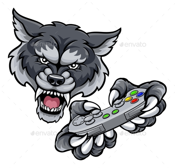 GraphicRiver Wolf Player Gamer Mascot 20761803